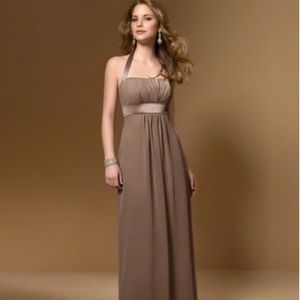 Alfred Angelo floor length satin brown gown 4